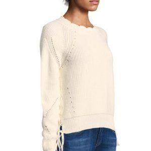 JOIE Adanya Scallop Knit Rib Sweater In Porcelain